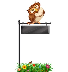 Owl standing on black sign vector