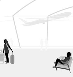 Passengers in airport vector
