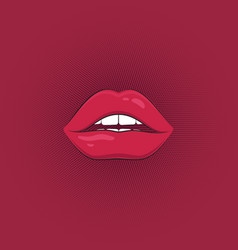 print of sexy pink lips vector image