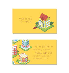 Real estate company business card template vector