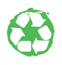 Recycling symbol white on green vector