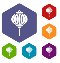 Red chinese lantern icons set hexagon vector
