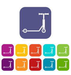 Scooter icons set flat vector