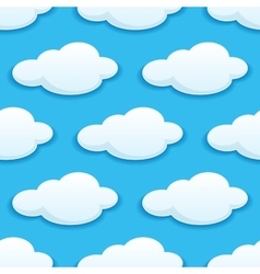 seamless pattern white fluffy clouds vector image
