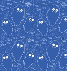 Seamless pattern with fish and white seal animal vector image