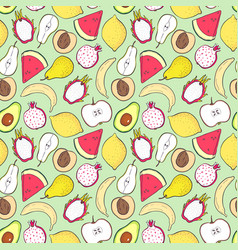 Seamless pattern with fruits for kitchen vector