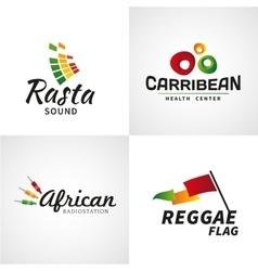 Set african rastafari sound logo designs vector