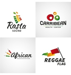 Set of african rastafari sound logo designs vector