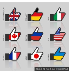 Set of G8 flags like vector image