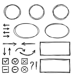Set of hand drawn elements for selecting text vector