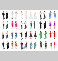 Set of isometries of different people vector