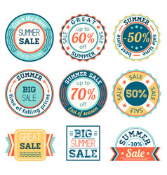 set of vintage retro summer sale logos labels vector image