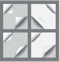 Set paper page curl with shadow isolated vector