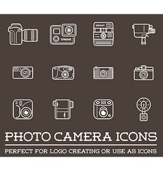 set photo or camera elements and video camera vector image