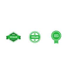 set various signs on vegan theme 100 percent vector image