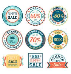 set vintage retro summer sale logos labels vector image