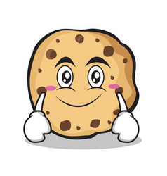 Smile face sweet cookies character cartoon vector