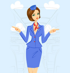smiling flight attendant vector image
