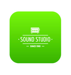 speaker sound studio icon green vector image