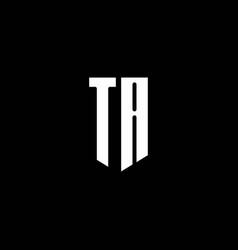 ta logo monogram with emblem style isolated on vector image