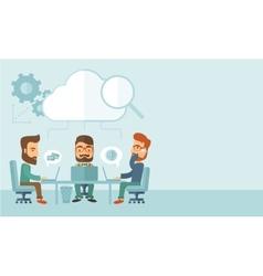 Three businessmen working together vector image