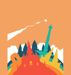 Travel indonesia world landmark landscape vector