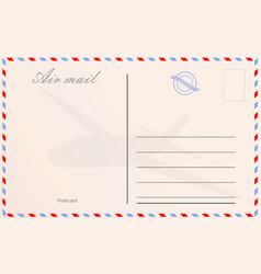 Travel postcard in air mail style with paper vector