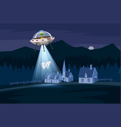 Ufo abducting a cow summer night farm landscape vector