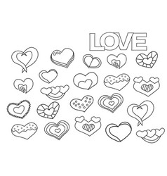 Valentine day hearts set coloring book page vector
