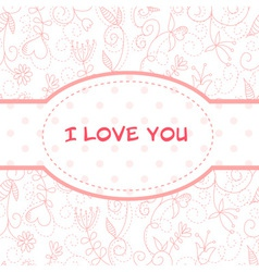 Valentines Day heart floral invitation postcard vector image