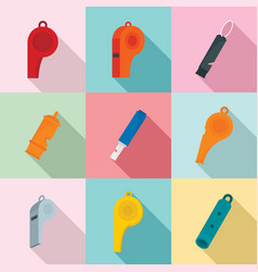 Whistle coaching blow icons set flat style vector