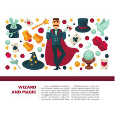 wizard and magic man with magical attributes and vector image