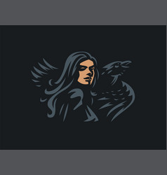woman witch with a raven vector image