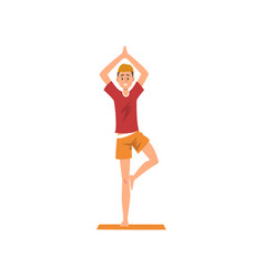 young man doing yoga in a vrksasana position vector image