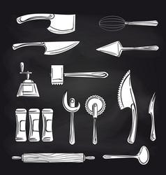 Cutlery on chalkboard background vector