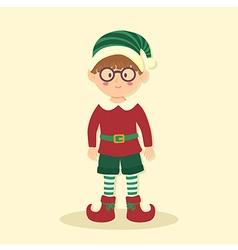 Elf Christmas Glasses Boy vector image