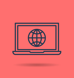 isolated linear icon - internet using on laptop vector image vector image