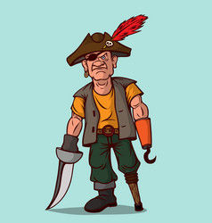 pirate with a sword on a wooden leg instead of vector image