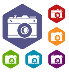 retro camera icons set vector image