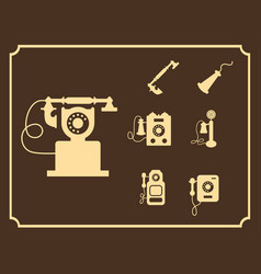 retro phone icon set vintage light icons vector image vector image