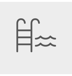 Swimming pool ladder thin line icon vector image