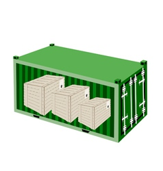 Three Wooden Crates in A Cargo Container vector image vector image