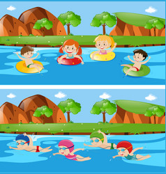 two scenes with children in river vector image
