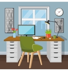 Workplace in room with window vector image vector image