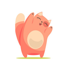funny happy red cat standing with raised paws vector image vector image