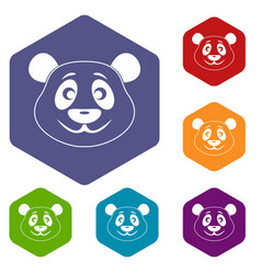 panda icons set hexagon vector image vector image