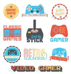 Retro Video Game Shop Labels vector image
