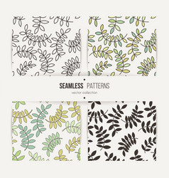 set of seamless patterns from leaves and twigs vector image vector image