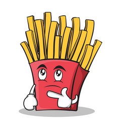 thinking face french fries cartoon character vector image