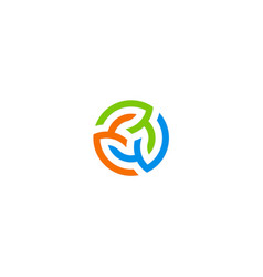 three circle colorful beauty logo vector image